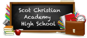 Chalkboard with the name of school: Scot Christian Academy